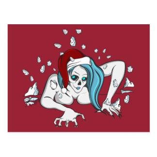 Esqueleto del zombi del hielo del navidad tarjetas postales