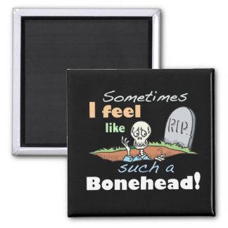 Esqueleto divertido del Bonehead Imán Cuadrado