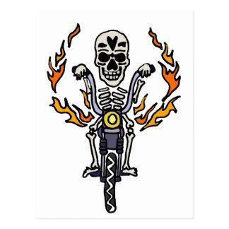 Esqueleto divertido del motorista en arte gótico tarjetas postales