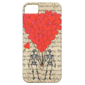 Esqueleto divertido del vintage y corazón rojo iPhone 5 coberturas