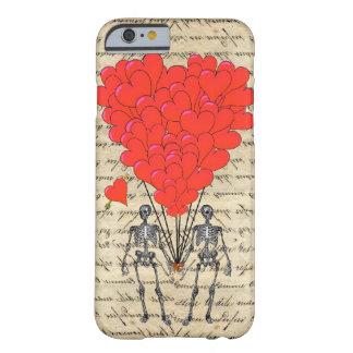 Esqueleto divertido del vintage y corazón rojo funda de iPhone 6 barely there