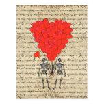 Esqueleto divertido del vintage y corazón rojo postales