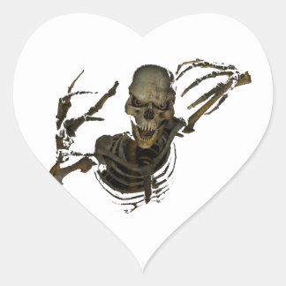 Esqueleto divertido pegatina en forma de corazón