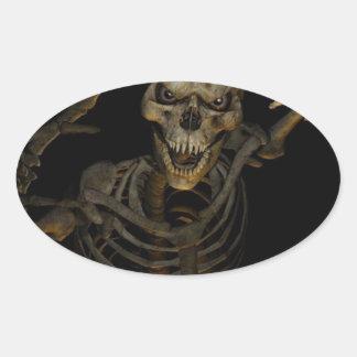 Esqueleto divertido pegatina ovalada