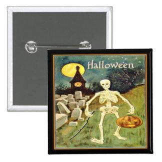 Esqueleto en el botón de Halloween del vintage del