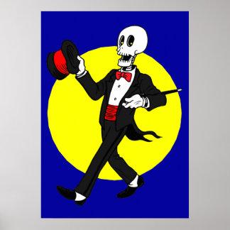 Esqueleto en smoking póster