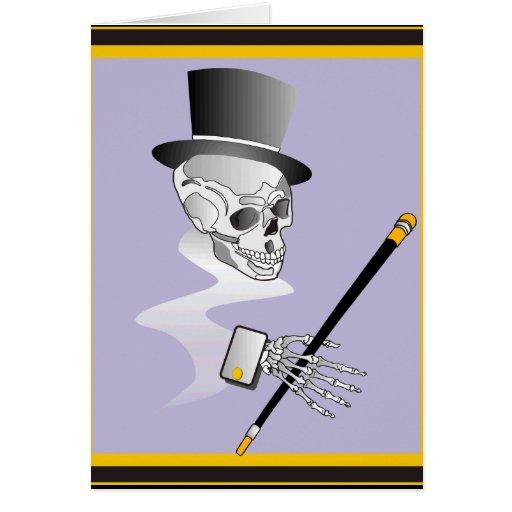 Esqueleto en sombrero de copa y bastón tarjeton