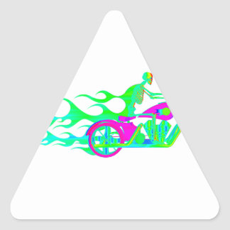 Esqueleto en una motocicleta pegatina triangular