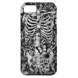 Esqueleto floral del cordón con las mariposas iPhone 5 fundas