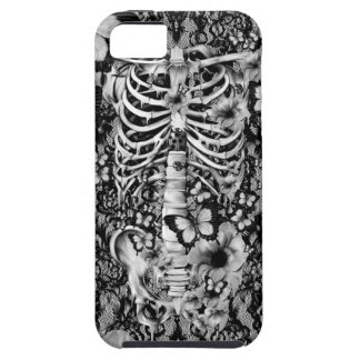 Esqueleto floral del cordón con las mariposas funda para iPhone SE/5/5s