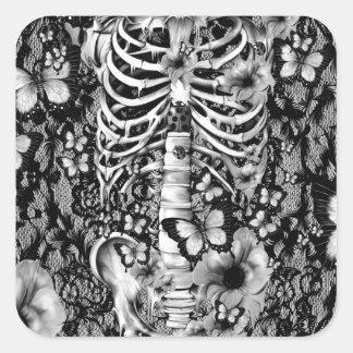 Esqueleto floral del cordón del idiota idiopático pegatina cuadrada