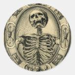 Esqueleto, gótico, medieval pegatinas redondas
