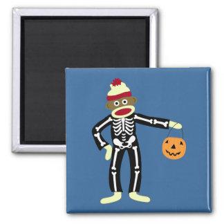 Esqueleto Halloween del mono del calcetín Imán