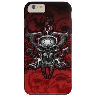 Esqueleto ilustrado cráneo del cromo del adaptador funda para iPhone 6 plus tough