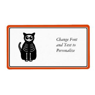 Esqueleto lindo del gato del dibujo animado de Hal Etiqueta De Envío