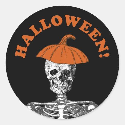 Esqueleto listo de Halloween Pegatina Redonda