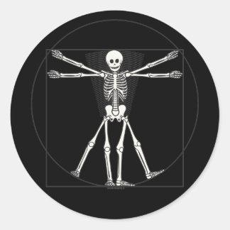 Esqueleto Lite de Vitruvian Pegatinas Redondas