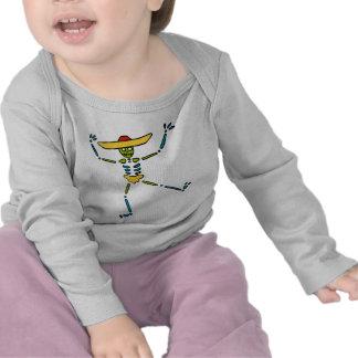 Esqueleto mexicano colorido del baile camisetas