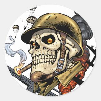 Esqueleto militar aerotransportado bombarderos de pegatina redonda