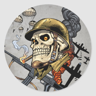 Esqueleto militar aerotransportado bombarderos de pegatinas redondas