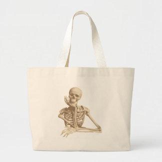 Esqueleto pensativo bolsa tela grande