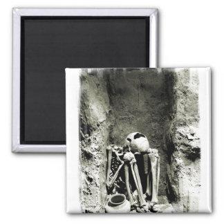 Esqueleto precolombino de Gravesite Imán Cuadrado