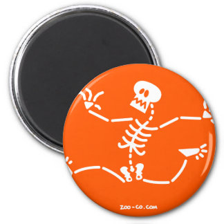 Esqueleto que corre lejos imán redondo 5 cm