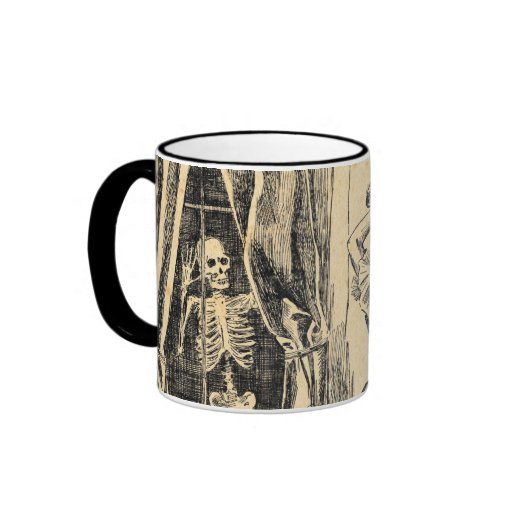Esqueleto que espía en señora Vintage Goth Art del Tazas De Café