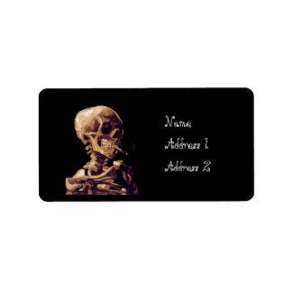 Esqueleto que fuma de Van Gogh Etiqueta De Dirección