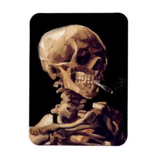 Esqueleto que fuma de Van Gogh Imanes De Vinilo