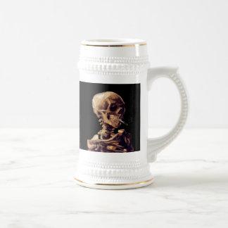 Esqueleto que fuma de Van Gogh Jarra De Cerveza