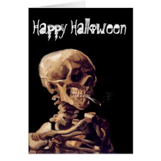 esqueleto que fuma tarjeta de felicitación