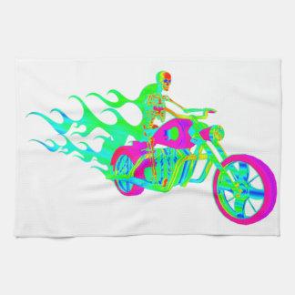 Esqueleto que monta una motocicleta toallas de mano