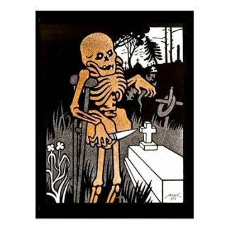Esqueleto que tiende la postal grave