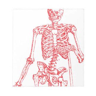 Esqueleto rojo blocs de notas