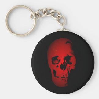Esqueleto rojo del cráneo llavero redondo tipo pin