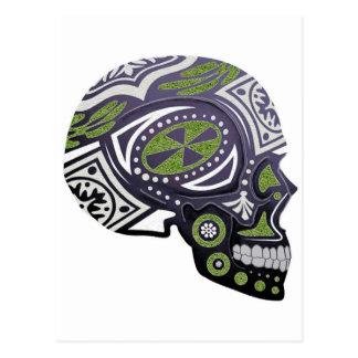 Esqueleto verde púrpura del cráneo del azúcar postal