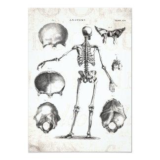 """Esqueletos antiguos esqueléticos de la anatomía de invitación 5"""" x 7"""""""