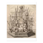 Esqueletos, cráneos y árboles espeluznantes del postal