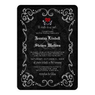 """Esqueletos de Halloween """"HASTA MUERTE"""" y """"ASÍ COMO Invitación 5"""" X 7"""""""