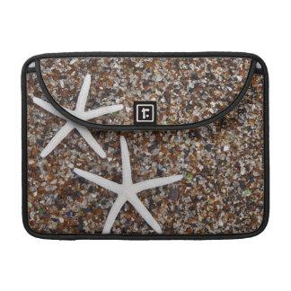 Esqueletos de las estrellas de mar en la playa de  funda macbook pro