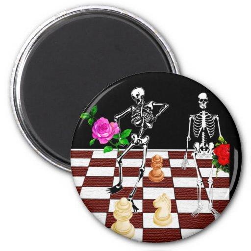 Esqueletos del ajedrez iman para frigorífico