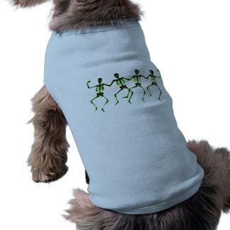 Esqueletos del baile, resplandor verde playera sin mangas para perro