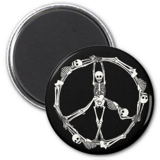 Esqueletos del signo de la paz imán redondo 5 cm