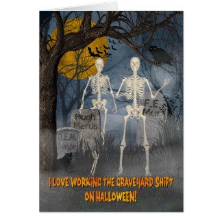 Esqueletos en el turno de noche w/Bats, el búho, y Tarjeta De Felicitación