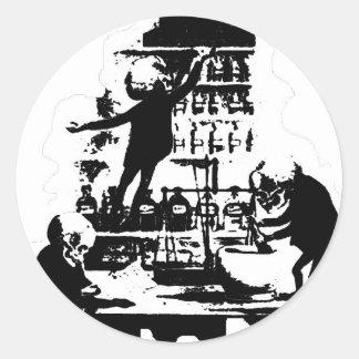 Esqueletos enojados del científico pegatina redonda