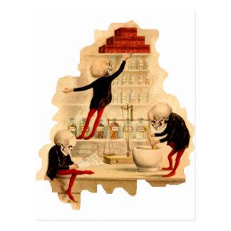Esqueletos enojados del científico postales