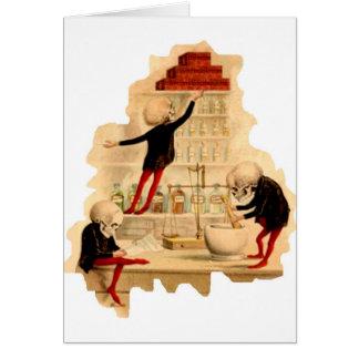 Esqueletos enojados del científico tarjeta de felicitación