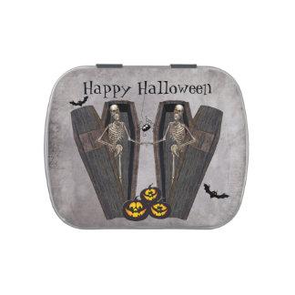 Esqueletos felices en favor de fiesta de Halloween Jarrones De Caramelos
