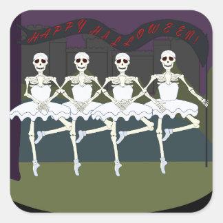 Esqueletos femeninos de baile pegatina cuadradas personalizadas
